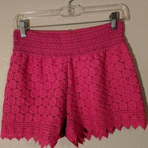 Lined pink lace shorts